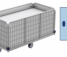 Spring-loaded trolleys, laundry trolleys (transport trolleys) for laundry logistics.